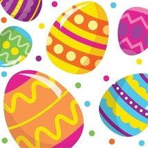 Easter Egg Fun 16 Ct Beverage Napkins Colorful Spring Party - $3.59