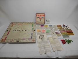 Old Vtg 1936 PARKER BROS. MOMOPOLY GAME WOOD TOKENS HOTELS HOUSES Board ... - $39.59