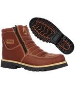 Mens Cognac Tough Durable Rubber Sole Slip Resistant Boots Shoes Zipper - €37,95 EUR