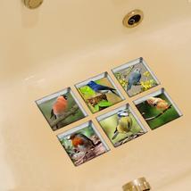 PAG 6pcs 13x13cm Bird Pattern 3D Anti Slip Waterproof Bathtub Sticker - $19.30