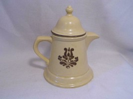 Vintage Pfaltzgraff Tan Brown Pottery Village Pattern Tea Pot Coffee Pitcher - $14.99