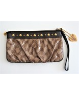 Gucci Brown Hysteria Crystal Canvas Pochette Clutch Wristlet with Crest ... - $220.00