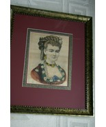 Framed 1860 Authentic Currier Ives Folio Lithograph Lady Portrait Julia H.C - $379.99