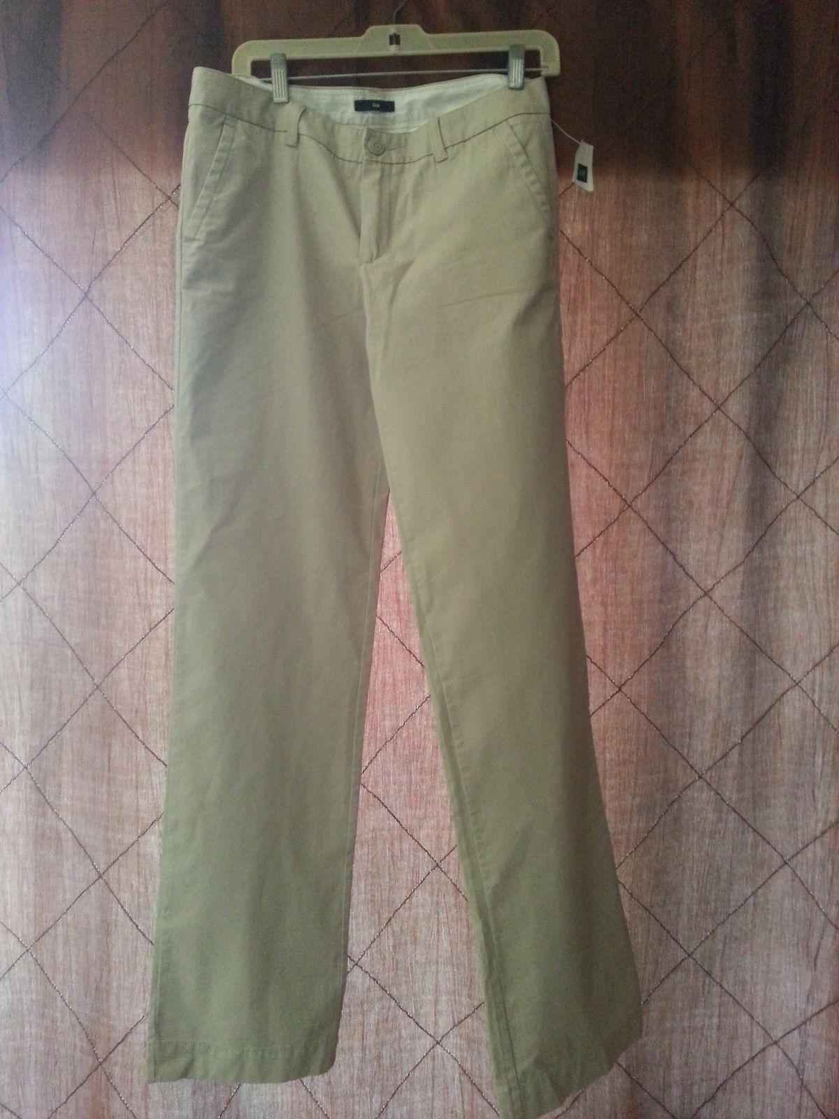 GAP NWT Womens Flat Front Beige Khaki Pants Size 4XLong - $14.50