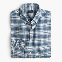 NWT J.Crew Men's Teal Blue White Plaid Linen Cotton Button Up Shirt Size S - $56.03