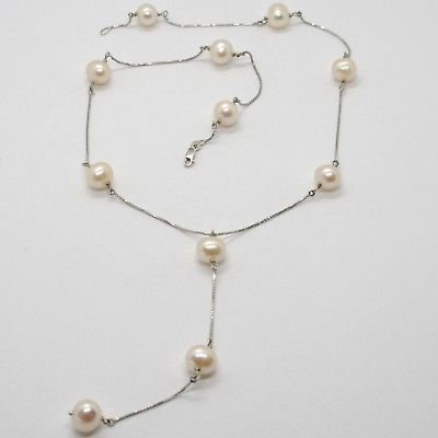 18K WHITE GOLD LARIAT NECKLACE, VENETIAN CHAIN ALTERNATE PEACH PEARLS 8.5 MM