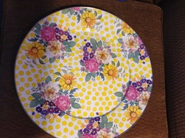 MACKENZIE CHILDS Yellow Pink Flowers Roses Drink Serving Platter Large T... - $148.50