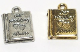 OUR WEDDING ALBUM FINE PEWTER PENDANT CHARM - 10x14x3mm