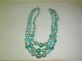 Costume jewelry 1950s lustre necklace 3 strand unique color Japan - $33.00