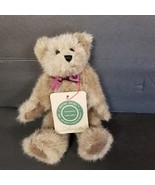 """Boyds Bear Callaghan Archive Collection 1990 8"""" Plush Burgundy Ribbon wi... - $19.34"""