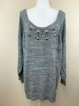 Torrid Plus Size 4 Gray Marled Embellished Sweater Faux Gem Bling - $24.99