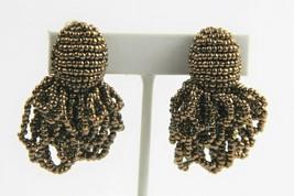 VINTAGE ESTATE Jewelry HIGH END HAND BEADED BRONZE SEED BEAD RUNWAY EARR... - $15.00