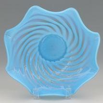"Vintage 1939 Fenton Art Glass Blue Opalescent Swirl Bowl 10 1/2"" X 3 1/4"" image 3"