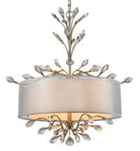 Horchow Style French Modern Branch Twig Crystal Chandelier Drum Pendant ... - $691.02
