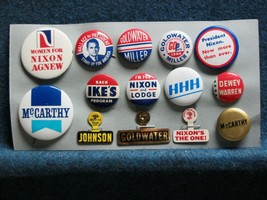 14 Political Campaign Buttons-Tabs  Dewey, Ike, LBJ Wallace Nixon McCart... - $19.80