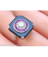 ANTIQUE ART DECO 1ct DIAMOND RUBY HALO BLACK ONYX PLATINUM COCKTAIL RING... - $4,632.21