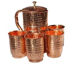 New Design Hammered Copper Water Pitcher with 4 Copper Glass - $65.33