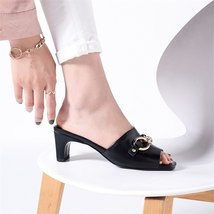 Genuine Punk 2018 Chains High Summer FEDONAS Heel Women S Leather Sandals Shoes vEqzxHwdq