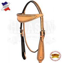 Western Horse Headstall Tack Bridle American Leather Tan Studs Hilason U-6-HS - $63.35