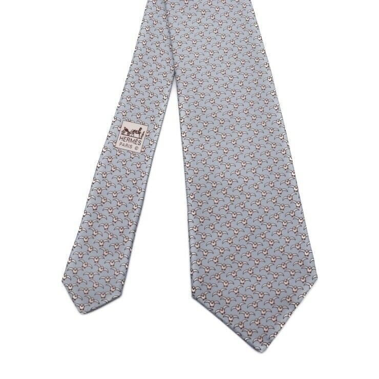 Hermes tie silk 100% water seagull Auth