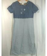Vtg Studio Ease Petite Denim Dress 10P Blue Jean Stripes Short Sleeve US... - $13.83