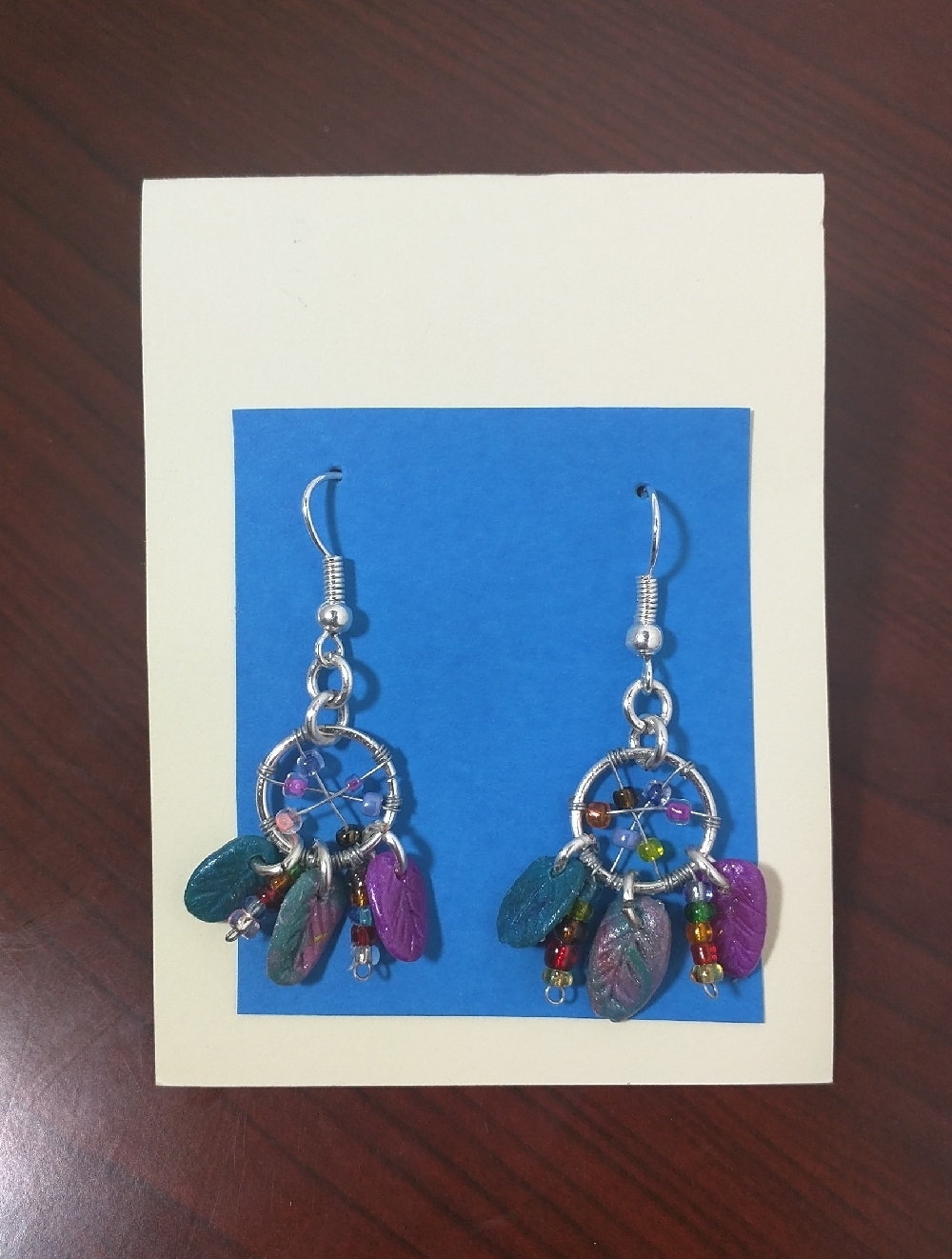 Multi Colored Dream Catcher Earrings - blue pink and silver dream catchers