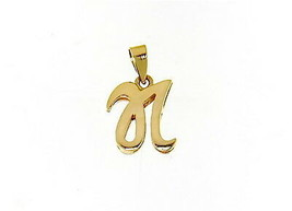18K YELLOW GOLD LUSTER PENDANT WITH INITIAL N LETTER N MADE IN ITALY 0.71 INCHES image 1
