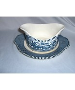 Vintage Currier & Ives Gravy Boat Under Plate Royal China - $44.55