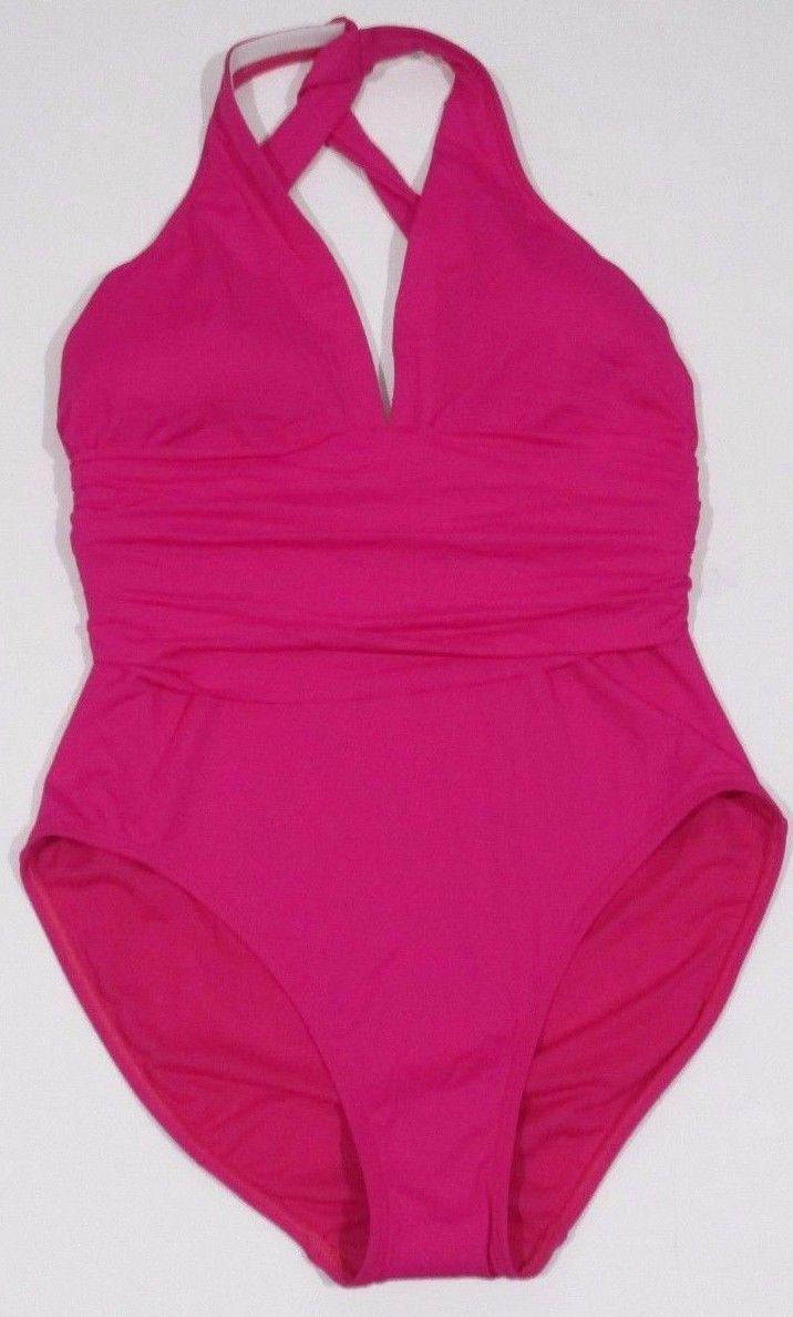 Lauren by Ralph Lauren, Women's, Plunge Neck One-Piece Swimsuit, Pink, Sz. 8