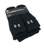 Under Armour UA Charged Cotton 2.0 Crew 6 Pack Men's Athletic Black Sock... - $22.77