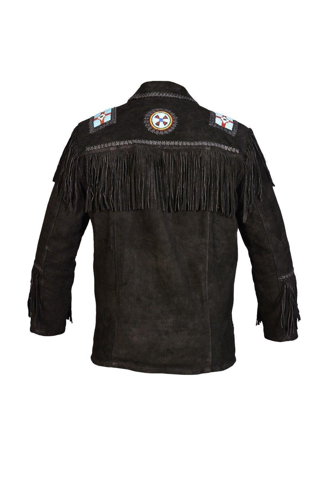 Men New Native American Buckskin Black Goat Suede Leather Bead Shirt & Pant WS69 image 5