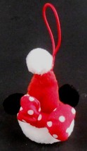 "Minnie Mouse Santa Hat Ornament Red Polka Dotted Bow 3"" tall Disney Christmas - $4.94"