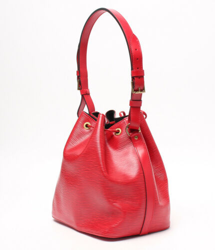 Auth Louis Vuitton EPI Shoulder Bag Red Leather PVC Noe Drawstring Logo LVB0607