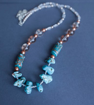 Turquoise gemstones necklace, natural crystal, turquoise nuggets necklace - $44.13