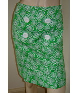 SARA CAMPBELL Green/White Floral Print Stretch Cotton Straight Skirt (0)... - $24.40