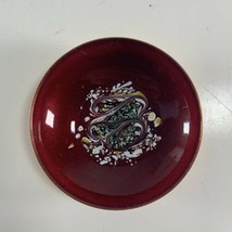 """Vintage Mid Century Statham Enamel Copper 4"""" Bowl Red Abstract Modernist... - $24.74"""