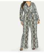 Self Tie V-Neck Snakeskin Print Jumpsuit Plus Size Romper Playsuit Ladie... - $45.89