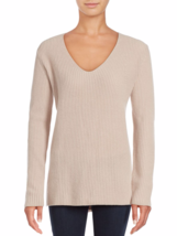 $385+ VINCE Ribbed V-Neck  SOFT Cashmere Sweater New buff Beige, sz L fi... - $2.370,37 MXN