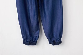 Dark Blue Denim CROP PANTS Drawstring Elastic Waisted Crop HAREM PANTS Trousers image 4
