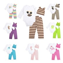 3pcs Newborn Baby Girl Clothes Long-sleeved Romper+Hat+Pants Sets Infant... - $19.45
