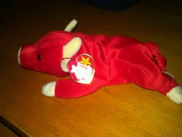 Ty red snort bull cow stuffed beanie animal all tags 1995 vintage vtg - $9.89