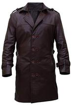 Mens Earle Detective Antique Lapel Collar PU Leather Brown Trench Coat image 1