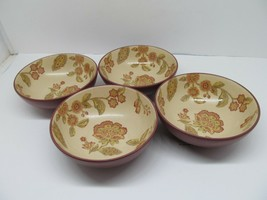 """222 Fifth Jacobean Red 6 5/8"""" Cereal Bowls Set Of 4 Bowls EUC - $28.42"""