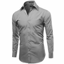 Omega Italy Men's Light Gray Dress Shirt Long Sleeve Regular Fit w/ Defect - L image 3