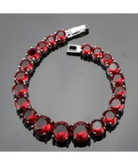 Red Garnet Round Stones Bracelet 925 Sterling Silver Link Chain Tennis B... - $299.99