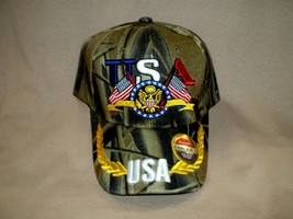 Colorful, Embroidered, Camo  Ball Cap with USA and our Eagle and Flag - $8.90