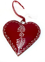 Valentine's Day Painted Tin Heart Ornament Flower by Culturas Trading Co... - $8.54