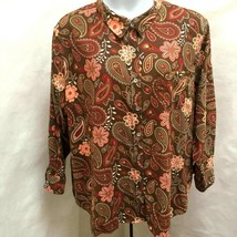 Woman Within 3X Top Brown Paisley Floral Long Sleeve Multicolor Plus Siz... - $21.55
