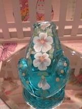 FENTON ART GLASS 2002 BLUE TOPAZ HP FLORAL FROG FIGURINE-S. HOPKINS - $42.00