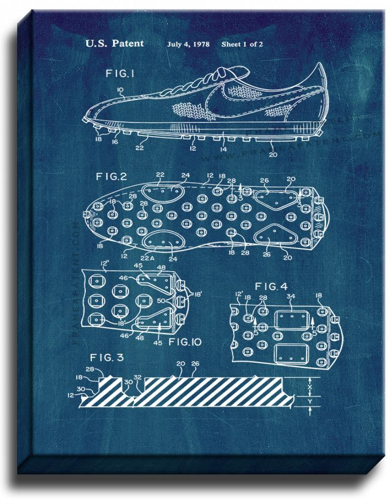 Primary image for Cleated Sole for Athletic Shoe Patent Print Midnight Blue on Canvas